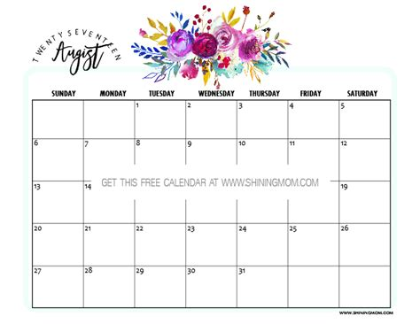 printable august calendars awesome designs