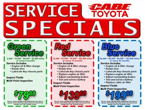 Cabe Toyota Service Specials And Discount Coupons Long