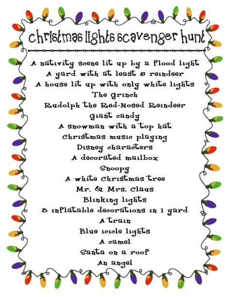 printable christmas lights scavenger hunt christmas