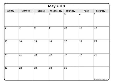 Monthly Calendar Template 2018 May 2018 Monthly Calendar Template Printable Calendars