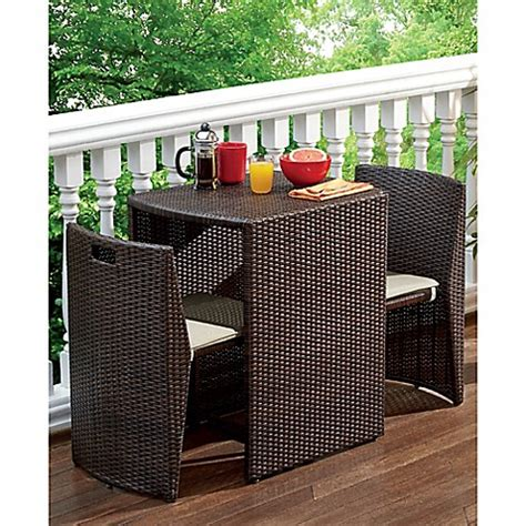 Small Balcony Furniture Sets by 3 Steel Wicker Outdoor Dining Set In Bronze Finish