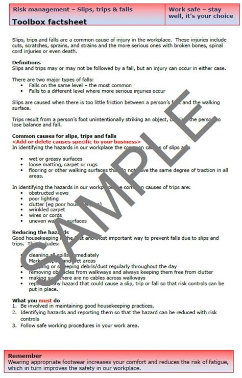 Toolbox Talk Template Nsw by Printable Safety Meeting Topics Related Keywords