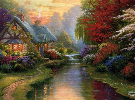 kinkade cottage painting evening the only kinkade cottage that i