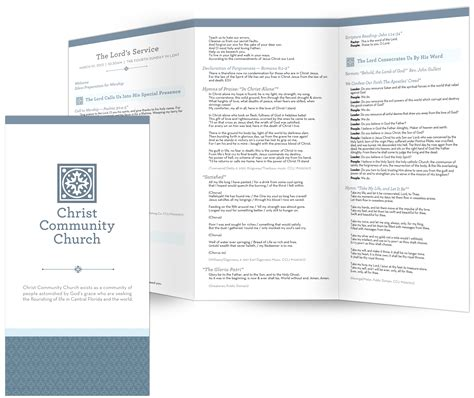 examples of church bulletins