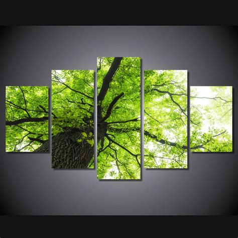 Framed Tree Branch Green Leaves Picture Photo Canvas Decor