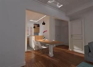idee cuisine americaine appartement 35 ides pour amnager With salle À manger contemporaine avec cuisine art deco
