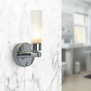 Pair Of Modern Chrome Ip44 Bathroom Wall Light With Pull