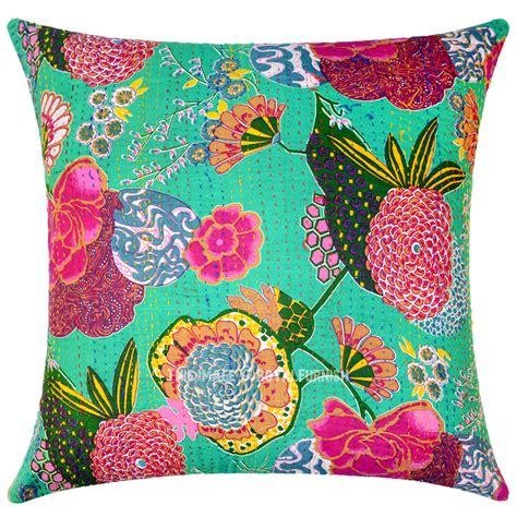 bohemian throw pillows green decorative bohemian accent kantha throw pillow