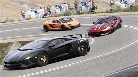 Ferrari F12 Tdf Vs Lamborghini Aventador Sv Vs Mclaren 675