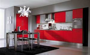 Red and grey kitchen cabinets design of your house its for Red and grey kitchen designs