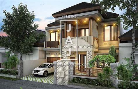 desain rumah 2 lantai luas bangunan 350m2 style bali