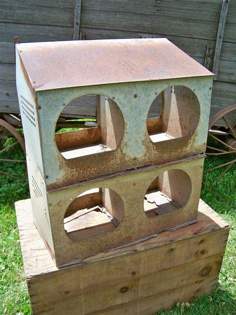 Old Vintage Hole Metal Chicken Coop Nest Box Antique