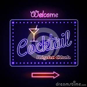 Neon Sign Cocktail Bar Stock Vector Image