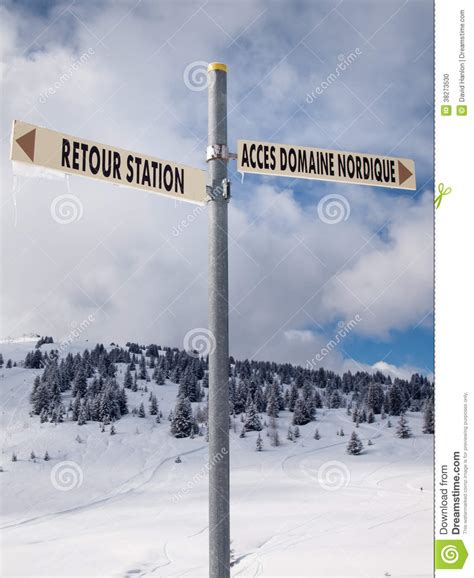 Signpost Giving Directions To Different Ski Slopes Editorial Sign Post With Winter Landscape Stock Photo Image