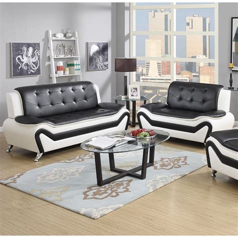 leather look sofa set wanda 2 piece modern bonded leather sofa set ebay