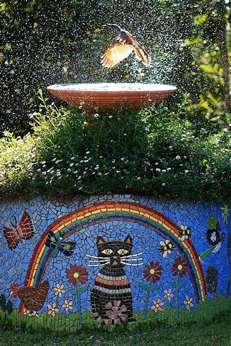 raoul slater mosaic birdbath front yard pomona