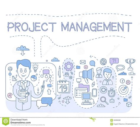 modern concept of management doodle style concept of project management modern line illustration for web banners
