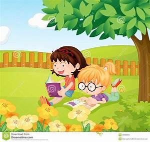 Girls reading books stock vector. Illustration of flora ...
