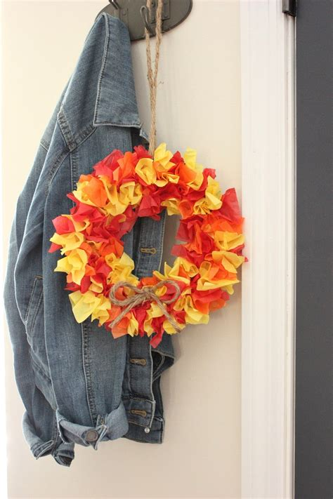 diy tissue paper fall wreath organized ish  lela burris