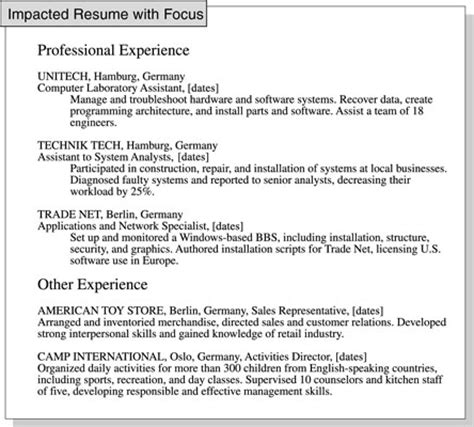 how to focus a resume on relevant experience dummies