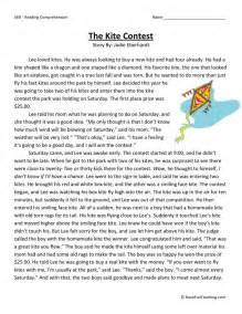 free third grade reading comprehension reading comprehension worksheet the kite contest