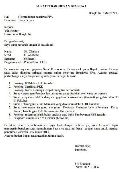 contoh surat permohonan beasiswa ppa mahasiswa kus