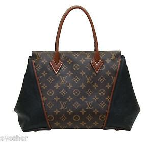 louis vuitton monogram  pm black leather tote bag brown