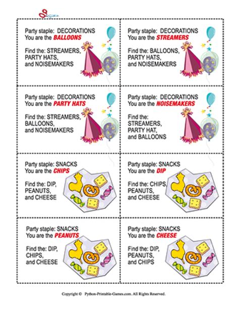 birthday party games printable games