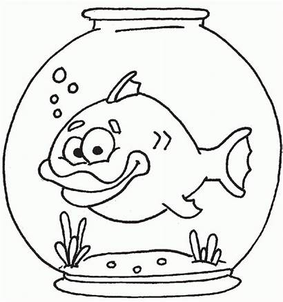 Bowl Fish Coloring Pages Clipart Template Printable