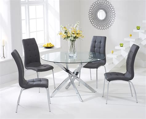 dining table with grey chairs buy mark harris daytona 110cm glass round dining set with