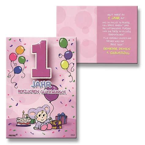zum 1 geburtstag mädchen archie geburtstagskarte zum 1 geburtstag m 228 dchen rosa