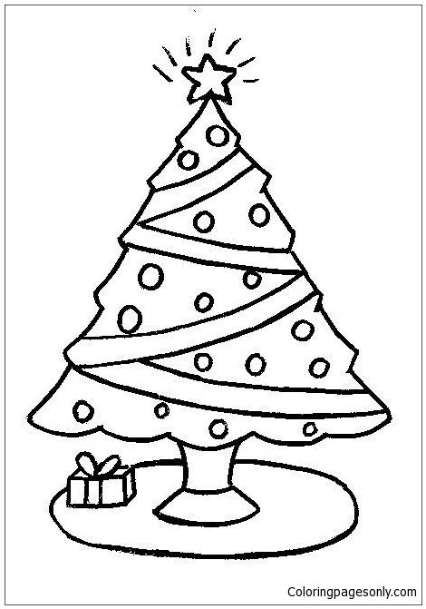 simple christmas tree coloring page  coloring pages