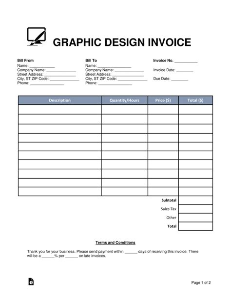 graphic design invoice template word  eforms