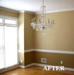 two tone dining room with chair rail light color above color below kitchen ideas