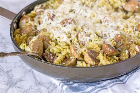 pesto pasta  meatballs recipe food fanatic