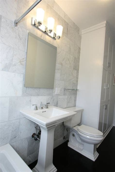 Bamboo Flooring Bathroom by White Bianco Carrara Marble Transitional Bathroom