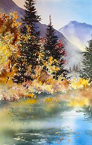 Mountain Lake Watercolor Paintings