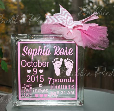 personalized piggy baby glass block piggy bank with birth statistics baby