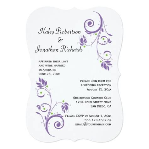 delicate purple green floral swirls reception