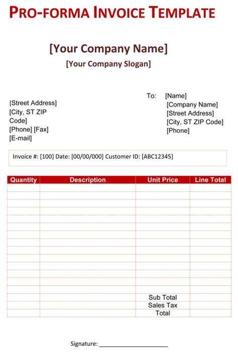 proforma invoice templates   word excel