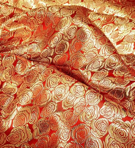 Red Gold Roses Damask Brocade Faux Silk Metallic Fabric