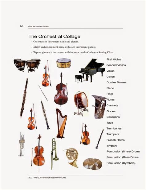 instruments of the orchestra worksheet worksheets for all