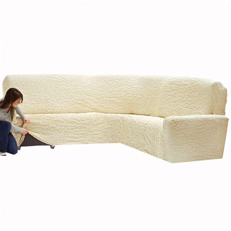 housse canapé d angle extensible housse gaufrée bi extensible canapé d 39 angle blancheporte