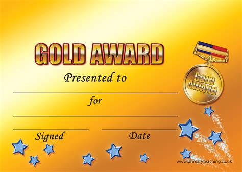 customised gold award certificate  pupil rewards