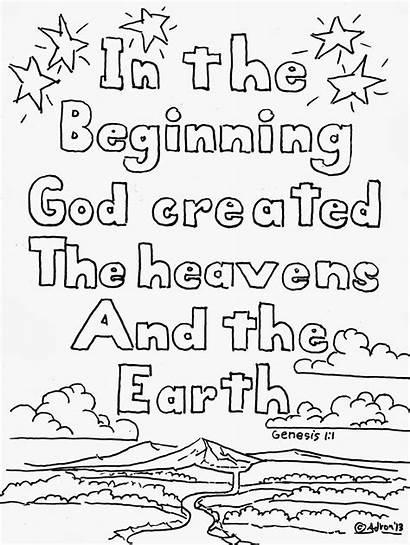 Coloring Genesis God Beginning Created Adron Mr