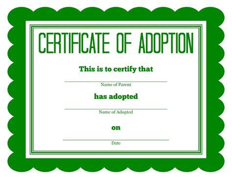 Adoption Certificate Certificate More Stuffed Animal Adoption Certificates
