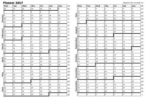 2017 calendar planner year planner 2017