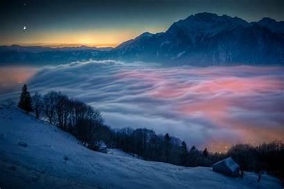 Snow Mountains Landscape Nature Mist Sunset Mountain