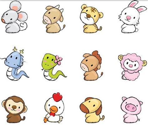cute drawing animals vectors material