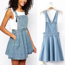 womens retro washed casual blue denim  jumper dress